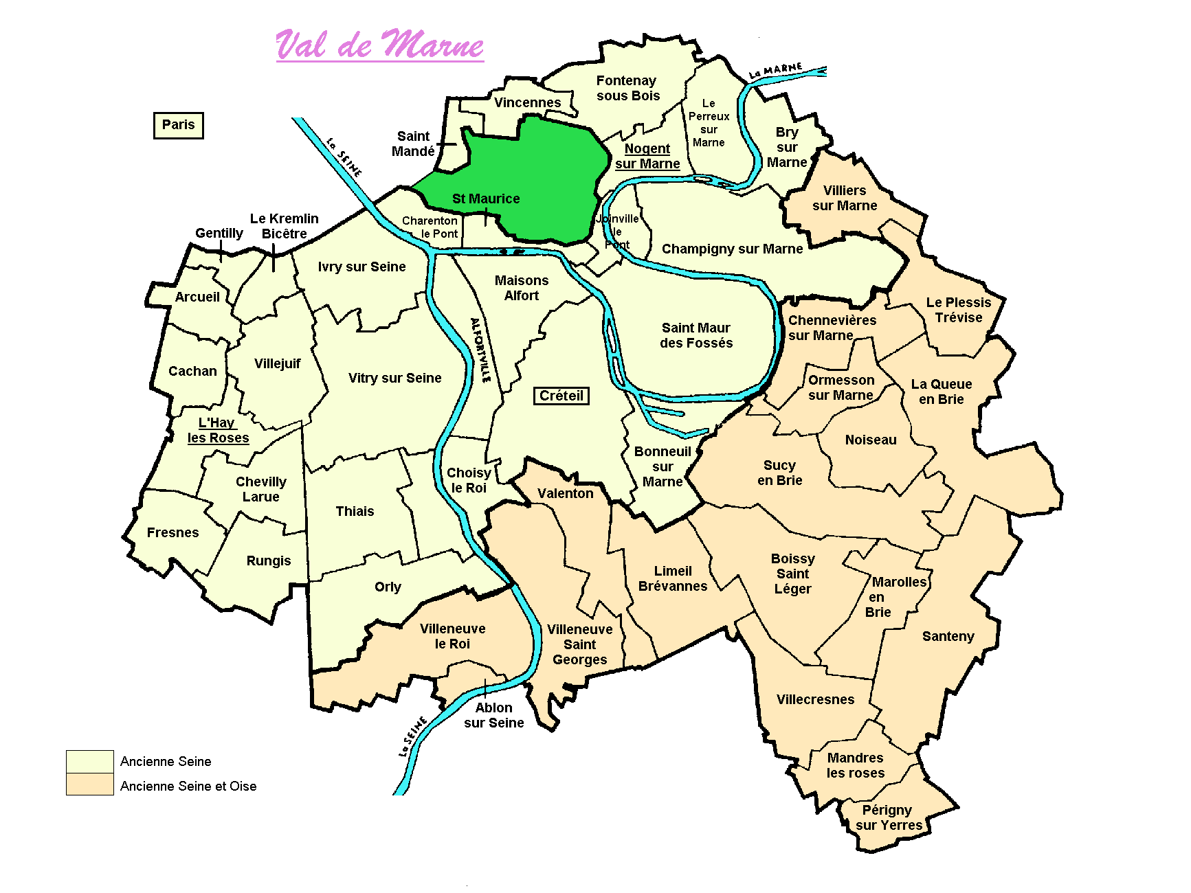 Carte des communes du val de marne valdemarnegenweb for Departement 78 ville